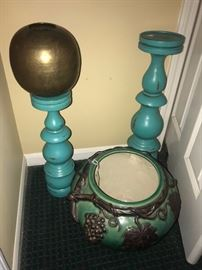 TURQUOISE SHABBY CHIC CANDLE HOLDERS AND FLOWER PLANTER