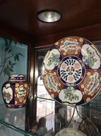 ORIENTAL HAND PAINTED LIDDED JAR AND PLATE
