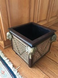 WICKER WOOD AND BRASS PLATED-VERY HEAVY