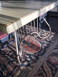 LEXINGTON COUNTRY DINING TABLE- METAL BASE AND DISTRESSED WOODEN TOP