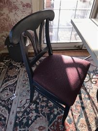 BLUE AND BURGUNDY UPHOLSTERED CHAIRS