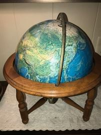 VINTAGE WORLD GLOBE WITH WOODEN STAND