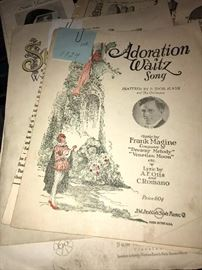 ANTIQUE NEWSPAPERS AND MUSIC NOTES