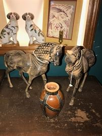 CHELSEA HOUSE METAL HORSES AND VASE