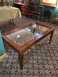WOODEN GLASS-TOP TABLE