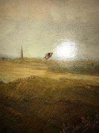 19TH C. GEORGE TURNER LARGE LANDSCAPE OIL ON CANVAS PAINTING