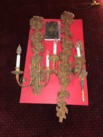 ANTIQUE CARVED WOOD CANDLE WALL SCONCES FROM DETROIT MANSION
