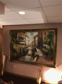 HUGE FULL WALL SIZE OIL ON CANVAS PAINTING