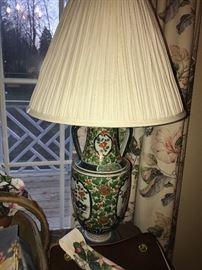 HAND-PAINTED ORIENTAL LAMP