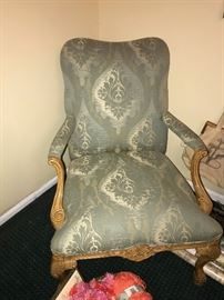 ANTIQUE STYLE WOODEN UPHOLSTERED ACCENT CHAIR-2 AVAILABLE