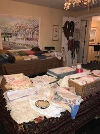 ENTIRE ROOM OF FABRIC AND LINENS