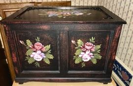 Lovely, painted trunk with original box and another unopened below