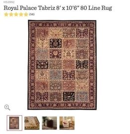 There are two 5'x8' and one 8'x10' wool rug still rolled up in original packaging in this design