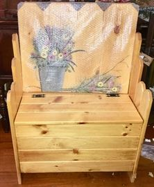 Storage bench with painted-flower back awaiting final assembly and Christmas-morning surprise (original box and packaging available)