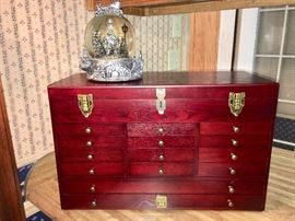 Cherry machinists' chest, new, and musical Christmas globe, new