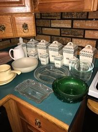 VINTAGE SPICE JARS AND PYREX