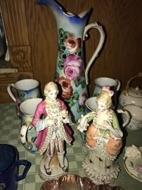 VINTAGE PORCELAIN FIGURINES AND LIMOGES PITCHERS