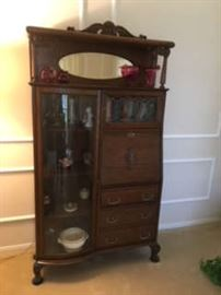 Antique Victorian Fancy Oak Secretary (with curved glass)