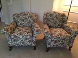 Antique Camel Back Upholstered Chairs (pair)