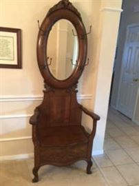 Antique Oak Hall Tree (with beveled oval mirror and storage seat)