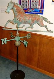 VINTAGE REPRODUCTION FULL BODY COPPER HORSE WEATHER VANE