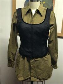 Flannel Military Shirt  Donna Karan bustier