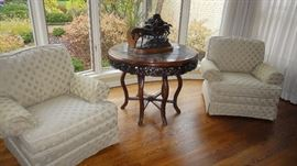 Oriental Center Table w/ Marble top  and hand carved apron.  Circa 1860's. Matching arm chairs