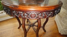 Oriental Center Table w/ Marble top  and hand carved apron.  Circa 1860's