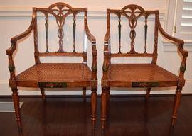 Adam Style Satinwood Armchairs