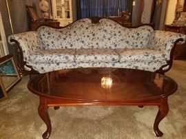 GORGEOUS antique Victorian couch with scroll arms and mahogany Victorian coffee table.   Both in pristine condition!!!