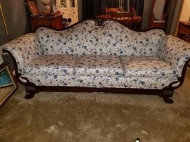 GORGEOUS antique Victorian couch with carved wood scroll arms in pristine condition!!!