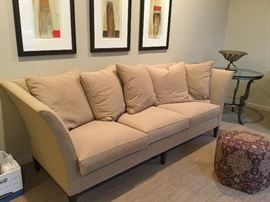 "Design Center Custom Made Sofa:  100"" x 38"" deep.  PLEASE NOTE:  THREE ART PIECES ABOVE SOFA ARE NOT FOR SALE"