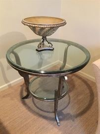 Metal and Glass Side Table: