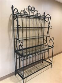 Wrought Iron and glass Bakers Rack