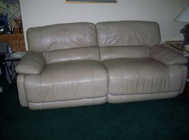 Taupe Leather Electric Dual Recliner Sofa