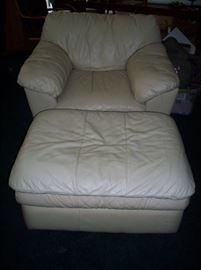 Off White Leather Chair with ottoman