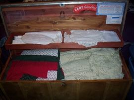 Interior of cedar chest
