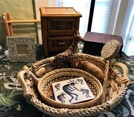 Wood Carved & Papier-Mâché Animal Figures, Woven Baskets (More than Pictured) & More