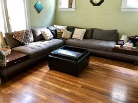 Large 'L' Shaped Sectional Couch with Attached End Tables
