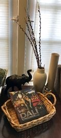 Large Leather Elephant Figure, Woven Basket, Vase & More