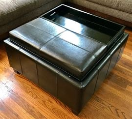 Ottoman/Coffee Table with Trays & Storage