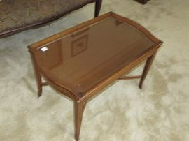 Walnut coffee table with glass insert