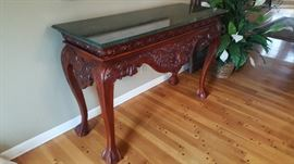 Hand carved mahogany sofa/entryway table with marble top