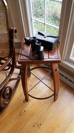 Rustic barrel style end table with distressed wood. There are 2 of these.