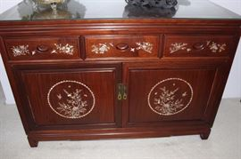 Mother of pearl and abilone inlaid rosewood server/buffet/sideboard.
