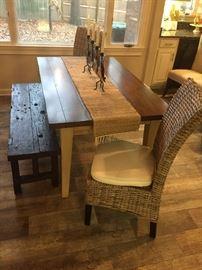 Farmhouse  Table / Rattan Chairs