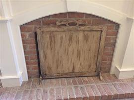 Rustic Wood Fireplace Screen