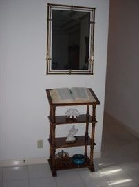 Mirror and Library Stand with Coral