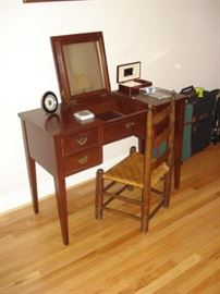 Craftique dressing table, early ladderback chair