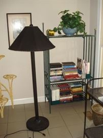 floor lamp, plant stand, steel bookshelf
